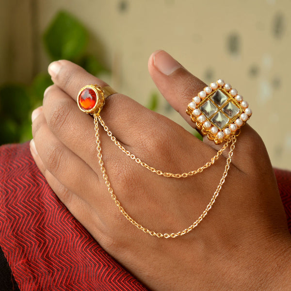 Royal Kundan Two Finger Ring (ACR048)