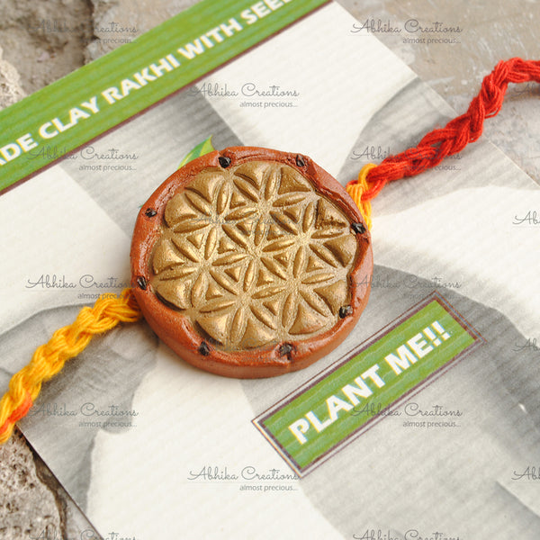 "Floral Mandala Clay Rakhi ""The Abstract Nature Collection""(ACRC007)"
