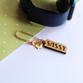 Sassy Wooden Engraved Watch Charm (ACWC026)
