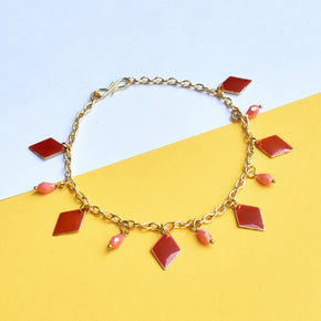 Red Enamel Chain Anklet (ANK001)