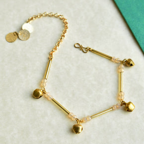 Golden Glass Tube Anklet (ANK006)