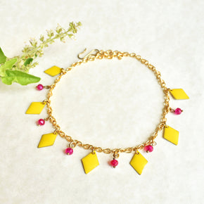 Yellow Enamel Chain Anklet (ANK010)