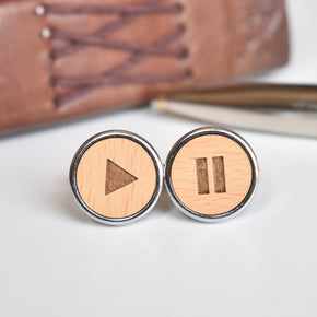 Wooden Quirky Play Pause Chrome Cufflinks (CL002)