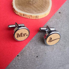 Mr Right Wooden Quirky Chrome Cufflinks (CL003)