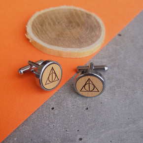 Men's Wooden Triangle Chrome Cufflinks (CL004)