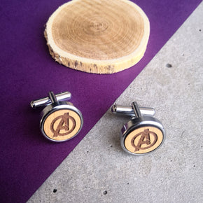 Avengers Quirky Wooden Chrome Cufflinks (CL010)