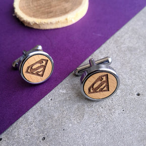 Super Men's Quirky Wooden Chrome Cufflinks (CL008)