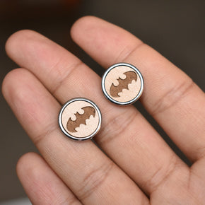Men's Bat Quirky Wooden Chrome Cufflinks (CL009)