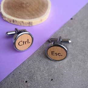 Men's Quirky Ctrl Esc Wooden Chrome Cufflinks (CL005)