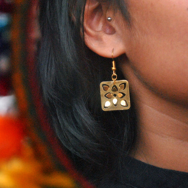 Square Flower Earrings (DFE02)
