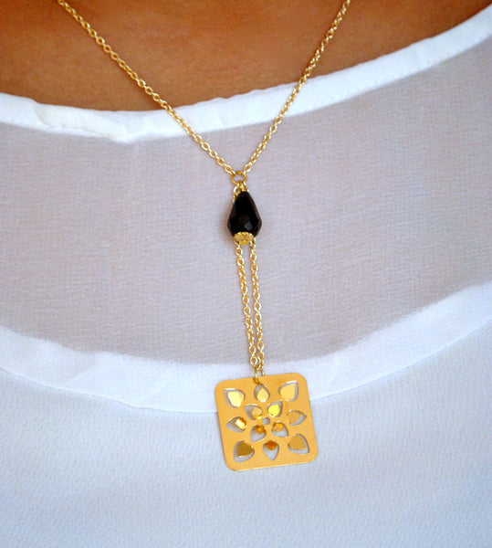Square Flower Necklace (DFN002)