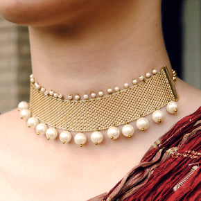 Golden Mesh and Pearl Choker Necklace (ACN033)