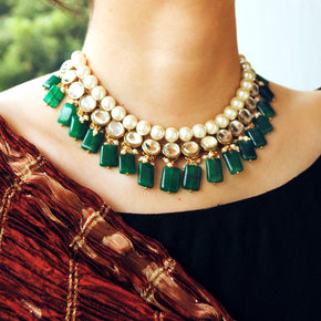 Green Glass Stone And Kundan Necklace Set (ACN032)