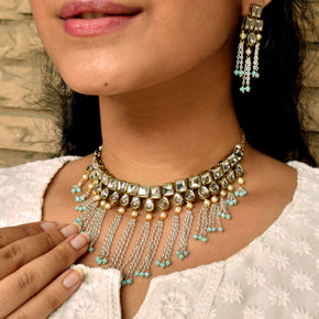 Kundan & Waterfall Chain Necklace Set (ACN042)