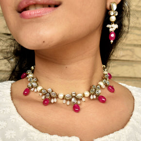 Kundan And Red Glass Stone Necklace (ACN041)