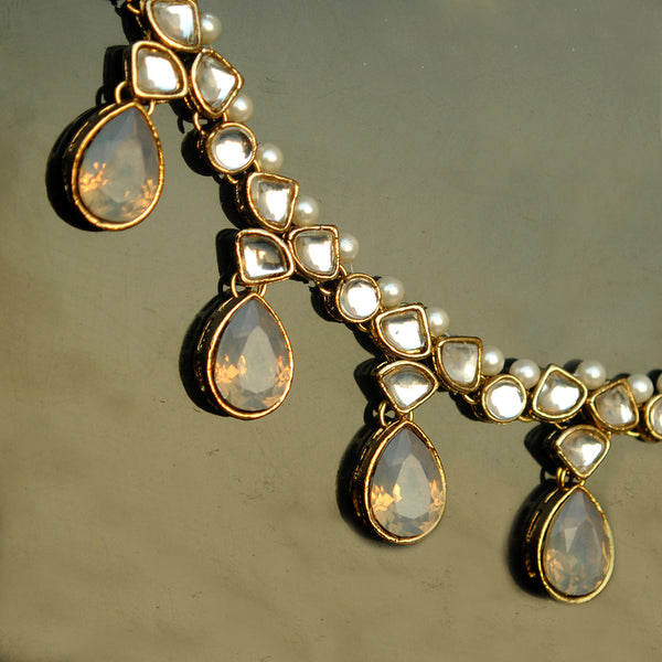 Grey Crystal Kundan Necklace (ACN034)