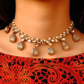 Grey Crystal Kundan Necklace Set (ACN034)