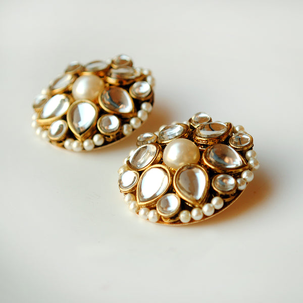 Kundan Flower Stud Earrings(ACE190)