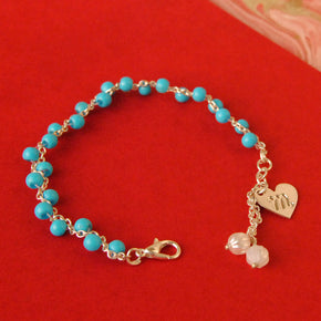 Blue Blooms Personalized Bracelet(ACP023)