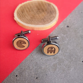 Men's Wooden Quirky Gobbler Ghost Cufflinks (CL001)