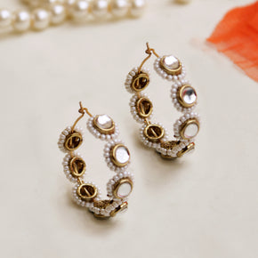 Mounted Kundan & Pearl Hoops(ACE236)