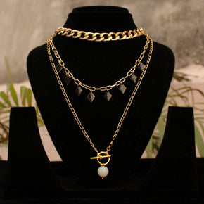 The Black And Broad Layered Necklace(ACN046)