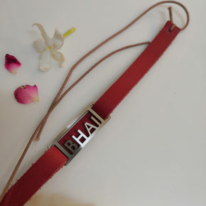 Red Vegan Leather Bhai Rakhi (LR001)