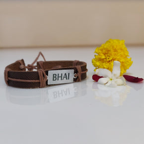 Brown Vegan Leather Bhai Rakhi (LR003)
