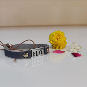 Blue Vegan Leather Bro Rakhi (LR005)