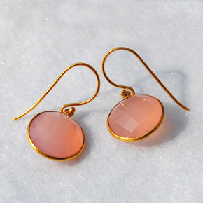 Round Pink Chalcedony 18K Gold Plated Silver Earrings (SME001)