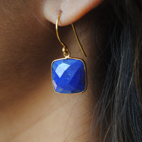 Cushion Shape Lapiz Lazuli 18K Gold Plated Silver Earrings (SME003)