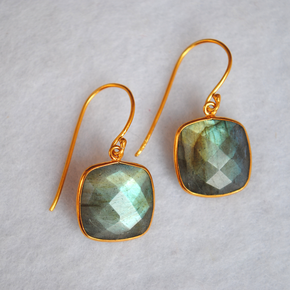 Cushion Shape Labradorite 18K Gold Plated Silver Earrings (SME004)