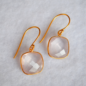 Cushion Shape Rose Quartz 18K Gold Plated Silver Earrings (SME005)