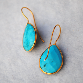 Pear Turquoise18K Gold Plated Silver Earrings (SME007)