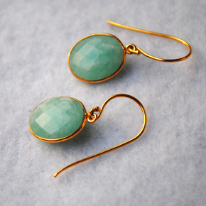 Oval Amazonite 18K Gold Plated Silver Earrings (SME008)