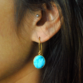 Oval Turquoise 18K Gold Plated Silver Earrings (SME009)