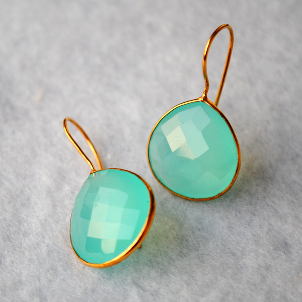 Drop Shape Green Chalcedony 18K Gold Plated Silver Earrings (SME010)