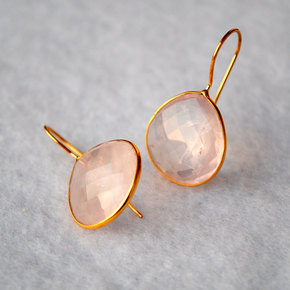 Drop Shape Rose Quartz 18K Gold Plated Silver Earrings (SME011)