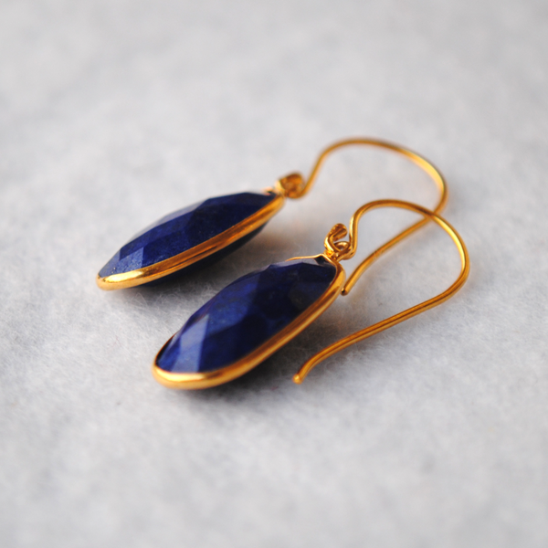 Oval Lapiz Lazuli 18K Gold Plated Silver Earrings (SME012)