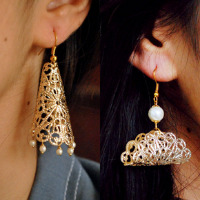 SET OF 2- Filigree Cone And Taco Shape Earrings