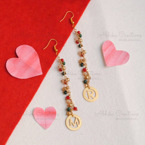 Dangler Initial Earrings with Multicolored Beads(ACP013)