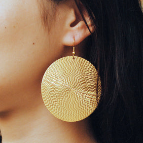 Flat Big Embossed Disc Earrings (ACE185)