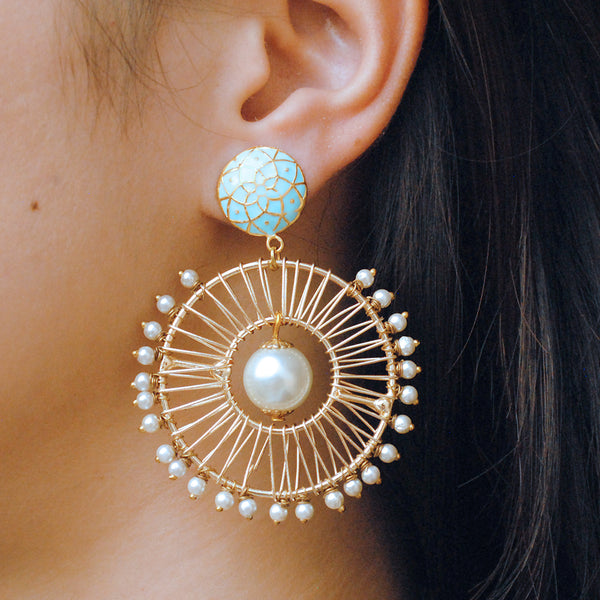 Turquoise Stud With Pearl Wheel Earrings (ACE186)