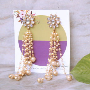 Kundan Stud Pearl Tassel Earrings (ACE184)