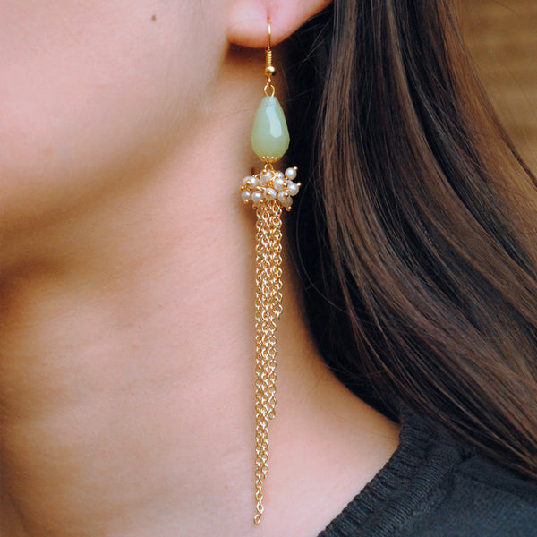 The Green Cascade Earrings (ACE064)