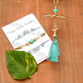 Golden Disc with Turquoise Tassel Lumba And Bhai Rakhi Combo (ACRS006)