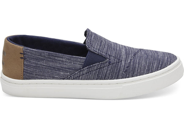 NAVY STRIPE CHAMBRAY YOUTH LUCA SLIP ONS-Espadrilles-Toms-Mara Shoes-fashion