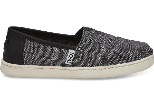 BLACK TEXTURED CHAMBRAY YOUTH CLASSICS-Espadrilles-Toms-Mara Shoes-fashion