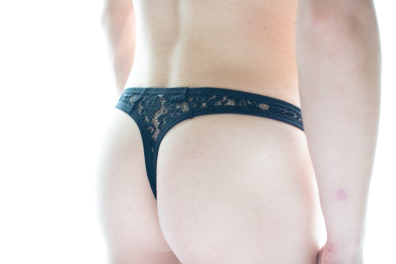 Black Sheer Lace Thong Thong TasteeTreasures 28in-30in