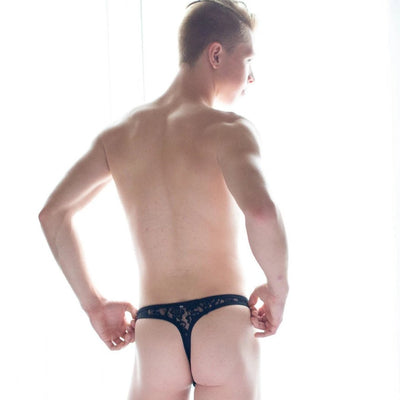 Black Sheer Lace Thong Thong TasteeTreasures